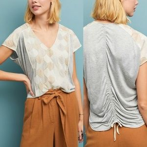 NWT Anthropologie Tiny Sea Fan Embroidered Top